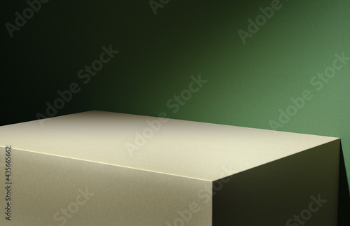 Photo 3D illustration of wooden board corner at green wall lit by diagonal light stripe