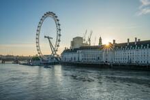 London Skyline At Sunrise With London Eye