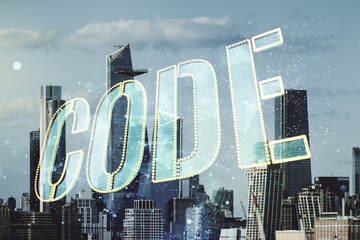 Code word hologram on New York cityscape background, international software development concept. Multiexposure