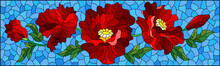 Illustration In The Style Of Stained Glass With A Composition Of Red Poppies On A Blue Background, Horizontal Orientation
