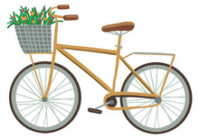 Bicycle With A Basket Of Wildflowers. Hand Drawn Vector Stock Illustration. Colored Cartoon Doodle. Single Drawing Isolated On White Background. Element For Design, Print, Sticker, Card, Decor, Wrap.