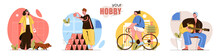 Hobby Concept Scenes Set. Women Walking Dog Or Ride Bike. Men Building House Of Cards Or Learn To Playing Guitar. Collection Of People Activities. Vector Illustration Of Characters In Flat Design
