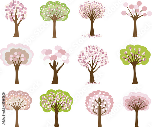 Foto Set of spring trees in bloom. Vector illustration.
