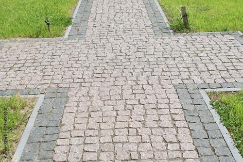 Granite pavement. Footpaths with granite cobblestones Fototapet