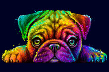 Pug. Sticker Design. Abstract, Multicolored, Neon Portrait Of The Head Of A Pug Breed Dog On A Dark Blue Background  The Style Of Pop Art. Digital Vector Graphics. Background On A Separate Layer.