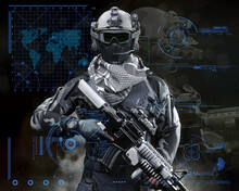 Portrait Of A Modern Special Operation Military Soldier Equipped With Battle Armor And A Advanced Assault Rifle . 3d Rendering