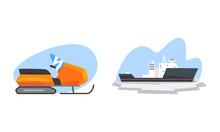 Arctic Explorer Set, Snowmobile And Ice Breaker, Polar Expedition Concept Cartoon Vector Illustration