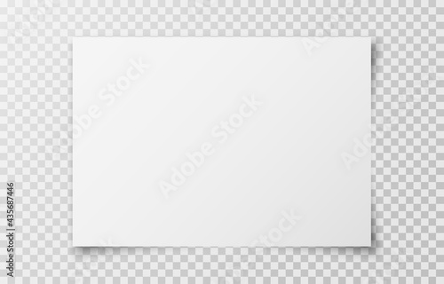 White realistic horizontal blank paper page with shadow isolated on transparent background. A4 size sheet paper. Mockup template for advertising, document, poster, brochure. Vector illustration
