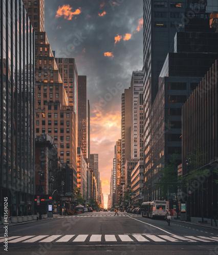 city skyline Strett beautify scene people horizon sky clouds buildings skyscraper usa New York