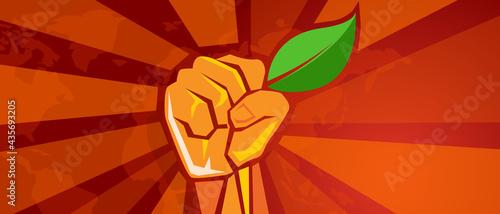 Fotografia ecology environmental revolution leaf green demonstration movement hand holding