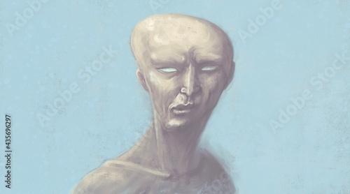 Obraz na płótnie Scary face illustration, Horror ghost and spooky concept, Surreal art, Portrait