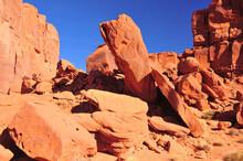 Massive Orange Fallen Boulders Found In The American Southwest Desert