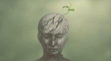 Concept Art Of Hope Spiritual Life And Nature, Conceptual Painting, A Tree Growing On Broken Human, Surreal Artwork