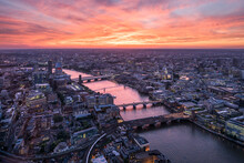 Aerial View Of The London Skyline At Sunset, United Kingdom
