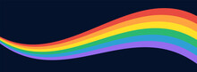 LGBT Pride Flag Wave Background. LGBTQ Gay Pride Rainbow Flag Illustration Isolated On Dark Background. Vector Banner Template For Pride Month