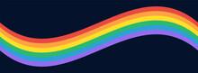 LGBTQ Gay Pride Flag Background. LGBT Pride Flag Rainbow Wave On Dark Background. Vector Banner Background For Pride Month