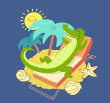 Crocodile Sunbathing Near Palms Tree. Smiling Crocodile And Sun On Summer Vacation At Sea.