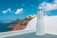 View Over A Terrace On Santorini.