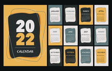 Calendar 2022 Template, Yellow, Gray, White And Black Desk Calendar Design. Week Start On Monday, Planner, Stationery, Wall Calendar. Vector Illustration