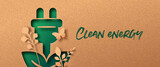 Clean energy green nature paper cut banner concept
