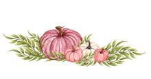 Watercolor Pink Pumpkin Composition, Floral Pumpkins, Halloween Clip Art, Autumn Design Elements, Fall Arrangement, Harvest Clip Art Isolated On White Background