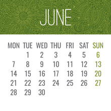 June Year 2021 Monthly Floral Calendar