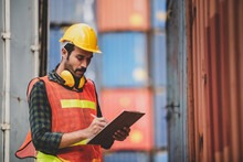 Engineer Foreman Working In Container Terminal In Term Of Industry Logistic Cargo Shipping To Export And Import, Warehouse Delivery Business Freight Transport, Loading Control In Port With Safety