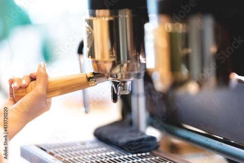 professional espresso coffee machine for making caffeine hot drink, fresh bevera Fototapet