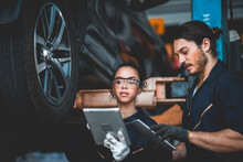 Background Of Mechanic Working About Auto Car Engine Service, Technician Having Automotive Job To Maintenance Or Repair Automobile In Motor Garage, Business Industrial Auto Car Engine