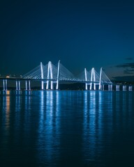 The Tappan Zee Bridge over the Hudson River at night, in Tarrytown, New York
