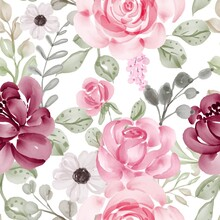 Seamless Pattern With Spring Flowers Pink And Leaves For Wallpaper Background