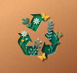 Upcycling green paper cut symbol nature concept