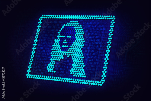 Obraz na płótnie crypto art neonconcept, NFT non fungible tokens, Mona Lisa pixel art in circuit