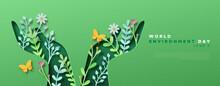 Environment Day Green Papercut Hand Web Template