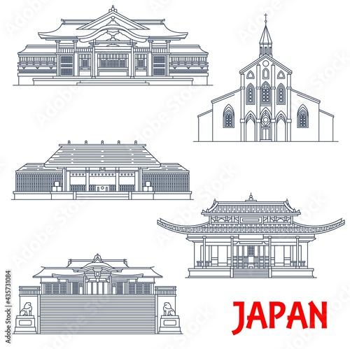Fototapeta Japanese temples, Japan architecture, landmarks and pagoda buildings, vector