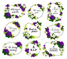 Funeral Service Vector Wreaths And Floral Frames. Condolence Flower Wreaths With Borders Of Purple Violet, White Jasmine Blossoms And Green Leaves With RIP, In Loving Memory And Rest In Peace Quotes