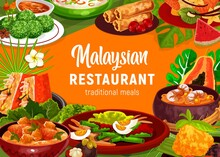 Malaysian Cuisine Food Vector Poster With Vegetable Salad, Seafood Noodle Soup Laksa And Coconut Meat Stew Rendang Frame. Shrimp Spring Rolls, Stuffed Tofu, Rice Dessert Kuih Lopes And Peanut Sauce