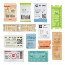 Bus Tickets, City Passenger Transport Plastic Card And Transfer Payment Receipt Document. Bus Excursion, City Tours Vector Admit One Ticket Or Pass With Tear Off Perforation, Bus Pictogram And Barcode