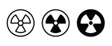Radiation Toxic Icon, Warning Symbol. Radioactive, Nuclear Danger Biohazard Icons Button  Symbol, Logo, Illustration, Editable Stroke, Flat Design Style Isolated On White Linear Pictogram