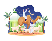 The Couple Brought A Camel And Some Goats And Sheep On The Eve Of Eid Al Adha Mubarak. Flat Vector Illustration
