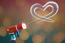 3d Illustration. Shooting Heart Bubbles Shape From Bubble  Gun