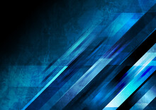 Dark Blue Grunge Tech Geometric Abstract Background. Vector Graphic Design