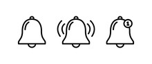 Bell Notification Line Icon, Bell Notification Symbol Vector
