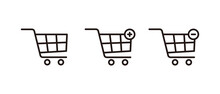 Shopping Cart Set Symbol For Your Web Site, Trolley Icon Vector