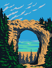 WPA Poster Art Of Arch Rock Located In Mackinac Island Within Mackinac National Park In Michigan That Existed From 1875 To 1895 Done In Works Project Administration Style Or Federal Art Project Style.