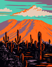 WPA Poster Art Of Saguaro Cactus With Wasson Peak In Tucson Mountains Located Within The Saguaro National Park In Arizona Done In Works Project Administration Style Or Federal Art Project Style.