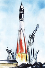 """Watercolor Landscape With Spaceship Takeoff. Historical Moment Of World's First Space Flight. Hand Drawn Illustration Of """"Vostok-1». First Soviet Rocket Ruled By Gagarin Taking Off Against Blue Sky"""