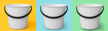 Plastic Buckets On Color Background