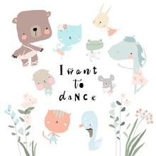 Set Of Cute Funny Little Animals Ballerinas