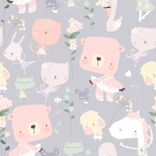 Seamless Pattern With Funny Little Animals Ballerinas
